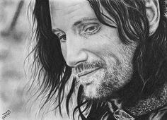 Aragorn Strider Viggo Mortensen LotR Original by WickedIllusionART