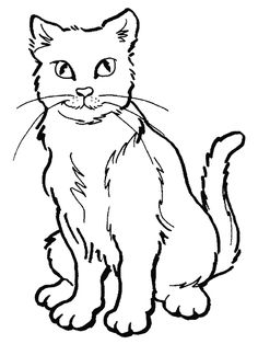 Coloring Pages Of Cat - Cat Coloring Pictures Cat Coloring Page, Disney Coloring Pages, Animal Coloring Pages, Coloring Pages To Print, Free Printable Coloring Pages, Free Coloring Pages, Coloring Books, Realistic Cat Drawing, Cat Template