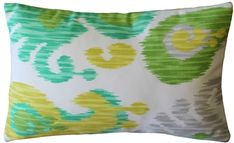 The rectangular Ikat Journey Outdoor throw pillow combines fresh greens, yellow and gray in a contemporary ikat design. Buy Pillows, Green Throw Pillows, Toss Pillows, Outdoor Throw Pillows, Accent Pillows, Decor Pillows, Outdoor Fabric, Outdoor Decor, Indoor Outdoor