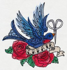 Swallow Tattoo Create Iron On Patch - Rockabilly, Psychobilly, Punk - Poofhawk