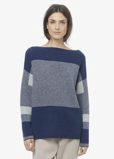 Intarsia Wool Cashmere Boatneck Sweater