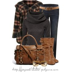 """Fall - Black and Brown"" by jaycee0220 on Polyvore ... I want the jacket... and sweater"