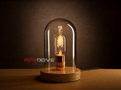 Retro/Antik Stil aus Holz Glasglocke Lampe inc von RedDoveGifts