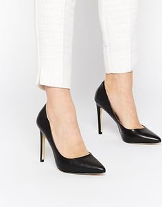 River Island Black Leather Heeled Court Shoes