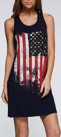 Look like a star in our Alexis Dress. Tank Dress. Bold flag print. 95% Rayon, 5% Spandex.