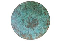 Large Patinated Wall Disc, Copper on OneKingsLane.com Give any space a storied look with this vintage-inspired 100-percent copper disc, finished with a verdigris acid wash. Loop hanger on back for easy mounting.