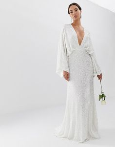 Buy ASOS EDITION sequin kimono sleeve wedding dress at ASOS. With free delivery and return options (Ts&Cs apply), online shopping has never been so easy. Get the latest trends with ASOS now. Asos Wedding Dress, Sequin Wedding, Wedding Dress Trends, Backless Wedding, Wedding Dress Shopping, Wedding Dress Sleeves, White Wedding Dresses, Wedding Dress Styles, Green Wedding