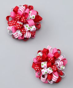 Take a look at this Pink & Red Cutie Clip - Set of Two by Picki Nicki Hair Bowtique on #zulily today!