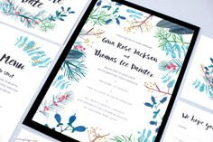 A vibrant wedding invitation bursting with lushious hand painted winter and autumn berries, foliage and firs, with the option of hand lettered wording in modern calligraphy. Part of the Blue Botanicals wedding stationery suite by Hollyhock Lane.