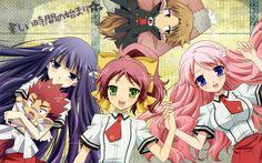 Mizuki Himeji, Minami Shimada and Shouko Kirishima from the anime series Baka To Test To Shoukanjuu ( バカとテストと召喚獣 ) Baka To Test, Manga Characters, Summoning, Beast, Anime Art, Wallpaper, Prints, Anime Girls, Test Image