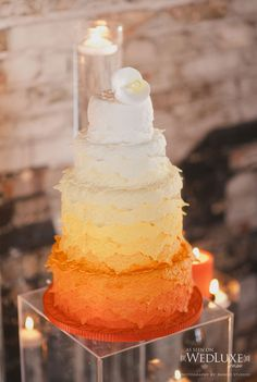 Flame inspired ombre cake. Patricia's Cake Creations.