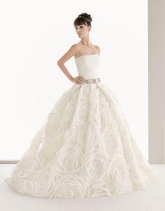 Ball gown strapless chapel train glamorous organza #Wedding#Dress