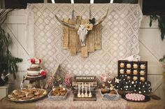 Crochet backdrop at a boho birthday party! See more party ideas at CatchMyParty.com!