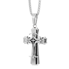 Medieval Stainless Steel Cross Pendant with Box Chain Necklace for Men | RnBJewellery