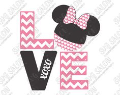 Chevron Love Girl Mouse SVG Cut File Set