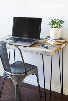 reclaimed wood desk with hairpin legs