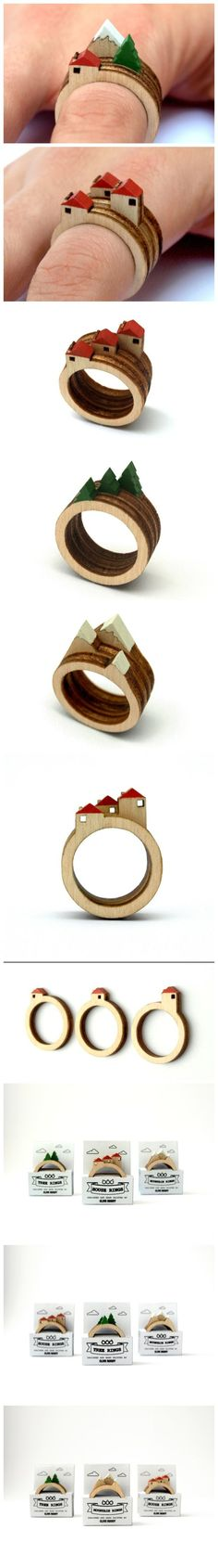 Coolest thing I've ever seen Wooden Jewelry, Diy Jewelry, Jewelery, Jewelry Design, Jewelry Making, Wood Animals, Ideas Joyería, Wood Rings, Metal Clay