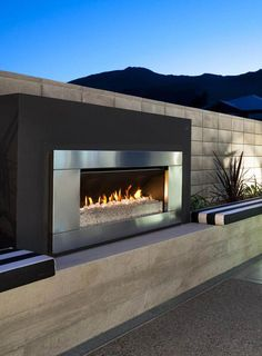 The Exterior Fire Pit Ring – Outdoor Kitchen Designs Outside Fireplace, Backyard Fireplace, Fire Pit Backyard, Backyard Patio, Fireplace Doors, Ethanol Fireplace, Modern Outdoor Fireplace, Outdoor Fireplace Designs, Outdoor Fireplaces