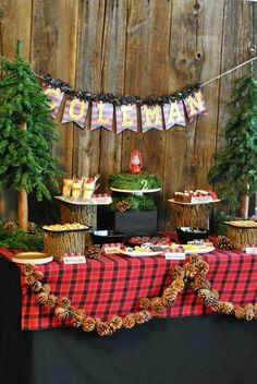 Lumberjack party ideas. Tree stumps for serving, pinecones and plaid for decorating...Pine trees also very cute