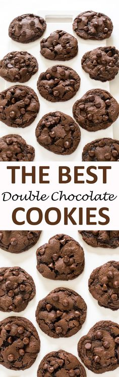Soft & Chewy Double Chocolate Chip Cookies. Made with semi sweet chocolate chips and cocoa powder. These cookies take only 20 minutes to make start to finish! | chefsavvy.com #recipe #dessert #cookies #chocolate