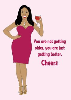 Birthday Greeting Card for Women.   Beautiful Black woman wearing a pink dress and having a glass of wine