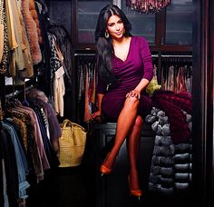 It looks like Kim Kardashian is comfortable & relax with her dream closet.