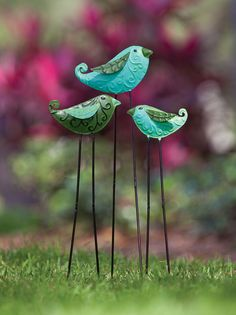 Tin bird garden stakes -- too cute