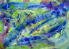 Blue and green mixed media abstract