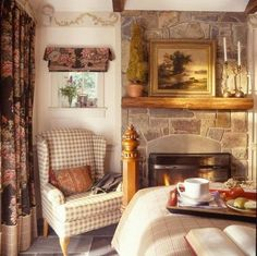 Country English Farmhouse - love the stonework! Nice chair as well.
