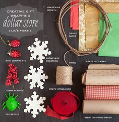 Creative Gift Wrap Ideas for Christmas This idea takes small things you find at the dollar store and makes them into wonderful gift wrapping!