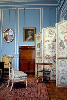 Salon bleu Louis XVI | Musée Carnavalet - Paris,c. 1780  The boiserie comes from the salon of the Hotel de Breteuil. The furniture is signed by the greatest names of Parisian cabinetmaking - Riesener, Weisweiler, Jacob, Lelarge and Sene.