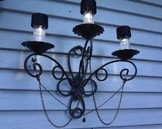 This is it! diy Outdoor Solar Light from wall mount candle holder!