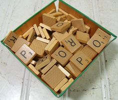 Vintage Scrabble Game O - S Letter Tiles - Wooden O P Q R S Pieces for Repurposing Upscaling Upcycling - Set of 63 Wooden Scrabble Tiles $7.00 by DivineOrders
