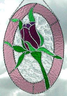 Mauve Rose Floral Stained Glass Suncatcher by StainedGlassDelight, $44.95