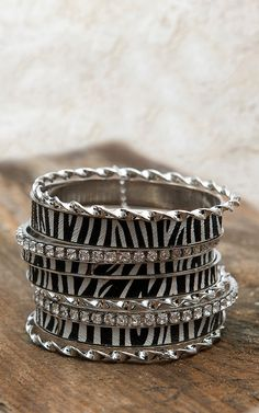 Blazin Roxx® Zebra, Silver & Crystals 9 Piece Bangle Bracelet Set 30422