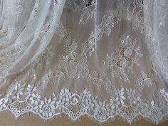"""38.2"""" Wide White Chantilly Lace Eyelash Edge Lace Trim for Wedding Dress, Shawl, Bridal Bolero, Dresses"""