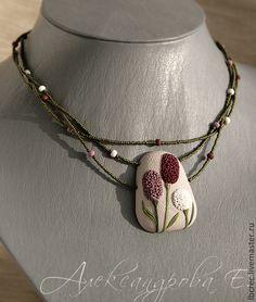 """Купить Кулон """"Sanguisorba"""" - кулон, из полимерной глины, летний, растительный, рельефный, цветочный, кулон на шнуре"""