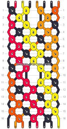 Friendship bracelet Pattern 15370 - 8 strings, 5 colours