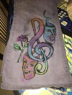 Watercolor tattooed jeans! Follow me on Facebook! The Art of Things! Let me make you some!