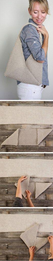 Free knitting pattern for Tolt Folded Bag