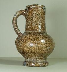 TUDOR 16TH CENTURY FRECHEN TIGER GLAZE STONEWARE  JUG - British Found.