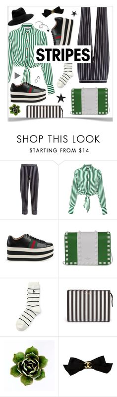 """""""STRIPES"""" by hellodollface ❤ liked on Polyvore featuring Thom Browne, Faithfull, Gucci, Valentino, Polo Ralph Lauren, Henri Bendel, Chanel, Maison Michel, stripesonstripes and PatternChallenge"""