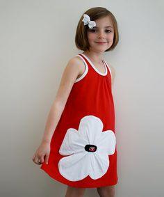 Red & White Daisy Dress - Toddler & Girls