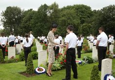Kate Middleton Photos - Catherine, Duchess of Cambridge meets British and French school children by war graves following the wreath laying, during the Commemoration of the Centenary of the Battle of the Somme at the Commonwealth War Graves Commission Thiepval Memoria on July 1, 2016 in Thiepval, France. The event is part of the Commemoration of the Centenary of the Battle of the Somme at the Commonwealth War Graves Commission Thiepval Memorial in Thiepval, France, where 70,000 British and…