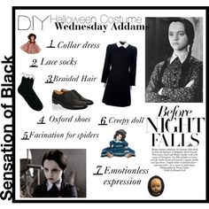 """""""Wednesday Addams"""" by living-the-moment on Polyvore My Halloween Costume this year."""