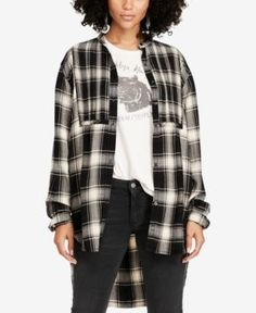 Denim & Supply Ralph Lauren Plaid Tuxedo Shirt - Black/White Plaid M