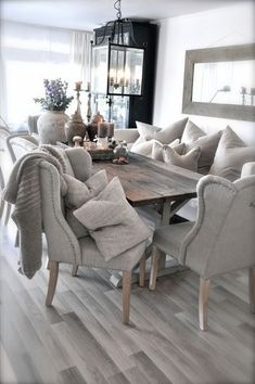 Beautiful dining room chairs and table. If you like this, why not pin it for later and head on over to http://www.FlorenceAndFreya.com for more classic and country design inspiration. We even have a free resource area with lots of tools to help you to create your dream home.