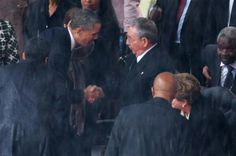 Obama shakes hands with Raul Castro - http://uptotheminutenews.net/2013/12/10/top-news-stories/obama-shakes-hands-with-raul-castro/