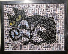 Love this skinny black cat mosaic.