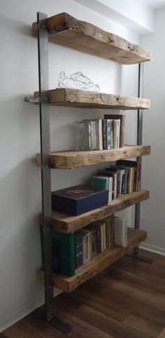 Reclaimed Wood Bookshelves with Metal Uprights